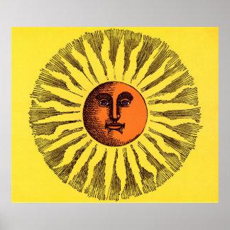 Vintage Celestial Yellow Smiling Happy Hippie Sun Poster