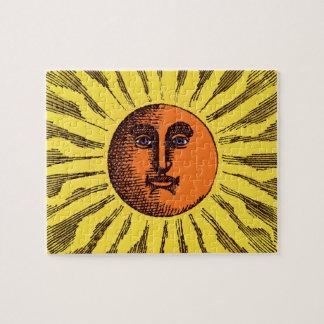 Vintage Celestial Yellow Smiling Happy Hippie Sun Puzzle