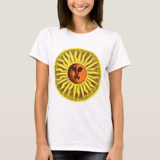 Vintage Celestial Yellow Smiling Happy Hippie Sun T-Shirt