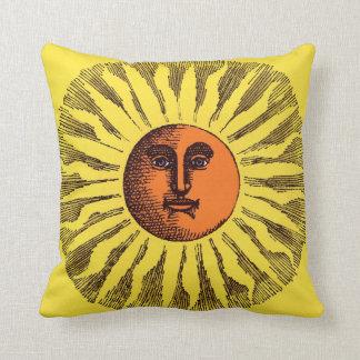 Vintage Celestial Yellow Smiling Happy Hippie Sun Throw Pillow