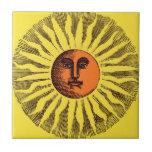 Vintage Celestial Yellow Smiling Happy Hippie Sun Ceramic Tile