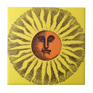 Vintage Celestial Yellow Smiling Happy Hippie Sun Tile