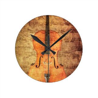 Vintage Cello Round Wall Clock