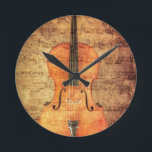 "Vintage Cello Round Clock<br><div class=""desc"">Cello ovelayed with textures and sheet music for an artistic look.</div>"