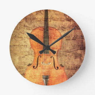 Vintage Cello Round Clock