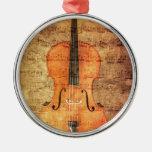 Vintage Cello Round Metal Christmas Ornament