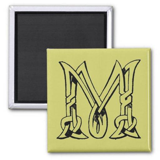 Vintage Celtic Knot Monogram Letter M 2 Inch Square Magnet