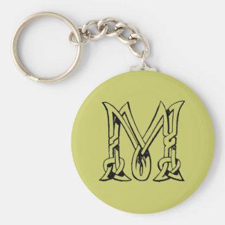Vintage Celtic Knot Monogram Letter M Basic Round Button Keychain