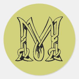 Vintage Celtic Knot Monogram Letter M Classic Round Sticker
