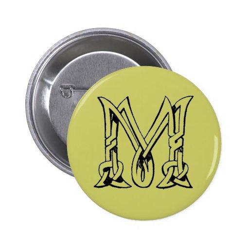 Vintage Celtic Knot Monogram Letter M Pinback Button