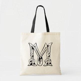 Vintage Celtic Knot Monogram Letter M Tote Bags