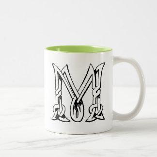 Vintage Celtic Knot Monogram Letter M Two-Tone Coffee Mug