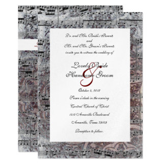 Vintage Celtic Silver Music Wedding Invitation