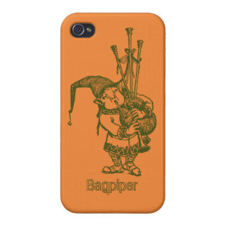 Vintage celtic troll trow bagpiper bagpipe player covers for iPhone 4