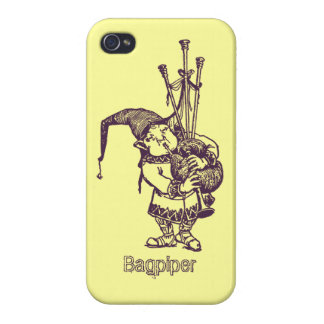 Vintage celtic troll trow bagpiper bagpipe player iPhone 4/4S case