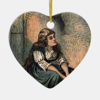 Vintage Cenicienta que está triste Adorno Navideño De Cerámica En Forma De Corazón