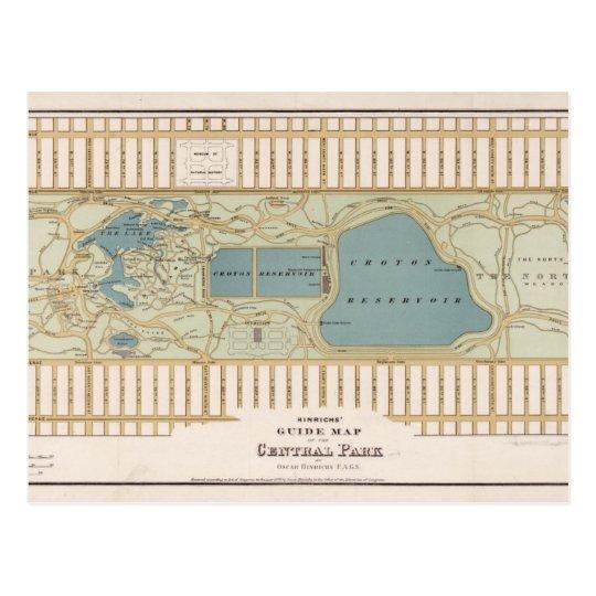 Vintage Central Park Map New York City Postcard