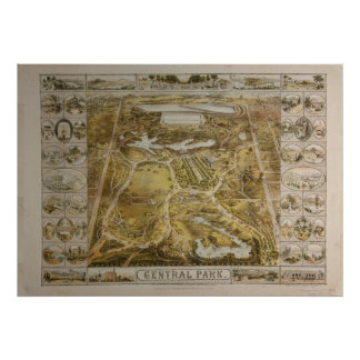 Vintage Central Park NYC Pictorial Map (1863) Poster