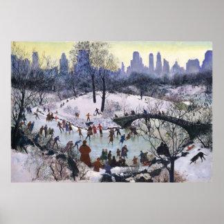 Vintage Central Park Skating Painting Print