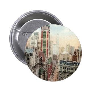 Vintage céntrico 1913 de Broadway NYC Pin Redondo De 2 Pulgadas
