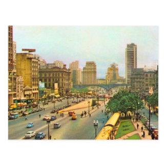 Vintage centro de ciudad del Brasil, Sao Paulo Tarjetas Postales