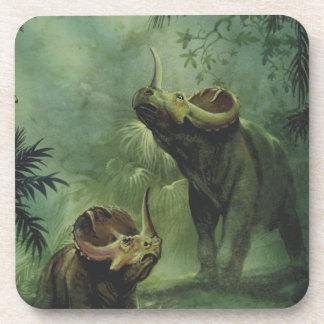 Vintage Centrosaurus Dinosaur in the Jungle Beverage Coasters