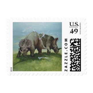 Vintage Centrosaurus Dinosaurs in the Meadow Postage Stamp