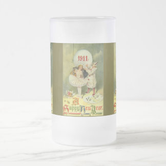 Vintage Century New Year Frosted Glass Beer Mug