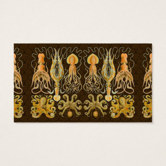 Vintage Cephalopods Squid Octopus Artwork Business Card