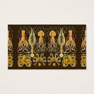 Beach Themed Vintage Cephalopods Squid Octopus Artwork Business Card