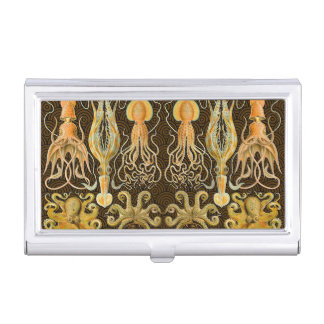 Vintage Cephalopods Squid Octopus Case For Business Cards