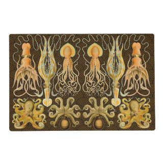 Vintage Cephalopods Squid Octopus Laminated Place Mat
