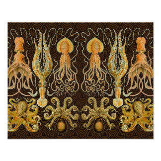 Vintage Cephalopods Squid Octopus Posters