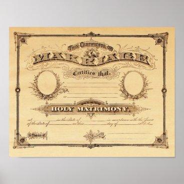 VintageVariety Vintage Certificate of Marriage Poster