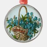 Vintage, cesta de flores azules ornamento de reyes magos