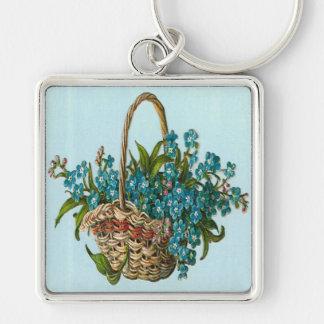 Vintage, cesta de flores azules llavero cuadrado plateado