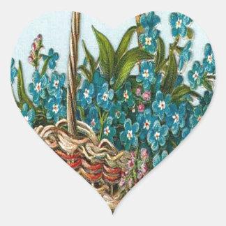 Vintage, cesta de flores azules pegatina de corazón personalizadas