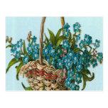 Vintage, cesta de flores azules postal