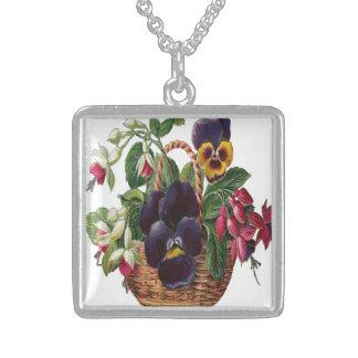 Vintage, cesta de flores colgante cuadrado