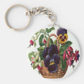 Vintage, cesta de flores llavero redondo tipo pin