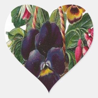 Vintage, cesta de flores colcomanias de corazon personalizadas