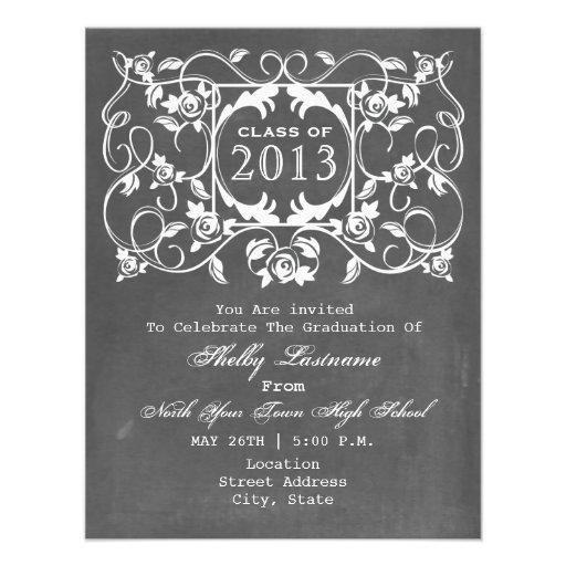 Vintage ChaIk Inspired & Roses Graduation Invite