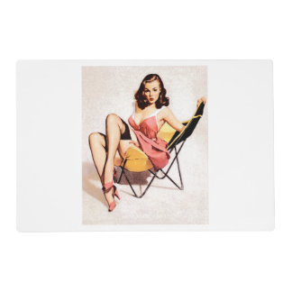 Vintage Chair Pin Up Girl Placemat