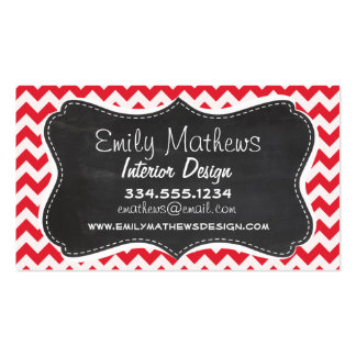 Vintage Chalk Alizarin Crimson Chevron; zig zag Double-Sided Standard Business Cards (Pack Of 100)