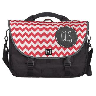 Vintage Chalk Alizarin Crimson Chevron; zig zag Laptop Messenger Bag