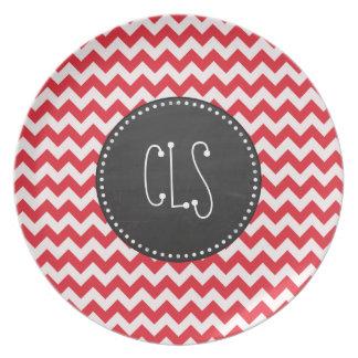 Vintage Chalk Alizarin Crimson Chevron; zig zag Melamine Plate
