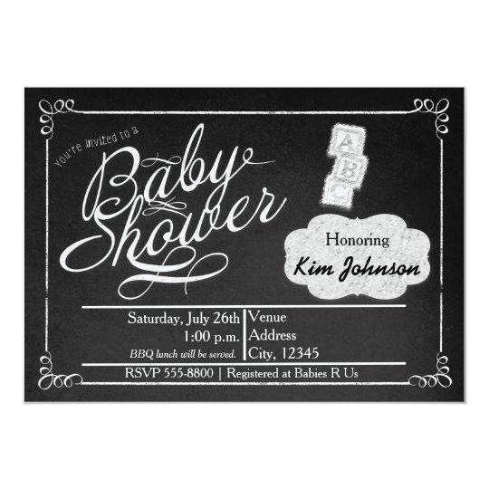 Vintage Chalk Baby Shower Chalkboard Invitation