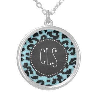 Vintage Chalk Blizzard Blue Leopard Animal Print Personalized Necklace