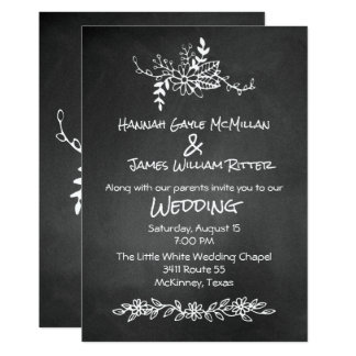 Vintage Chalk Board Look Wedding Invitation