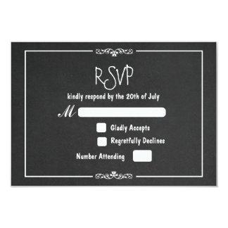 Vintage Chalk Ornament Wedding RSVP Invitation